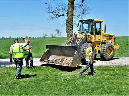 Bulldozer, Road Crew, County Road, Road Work