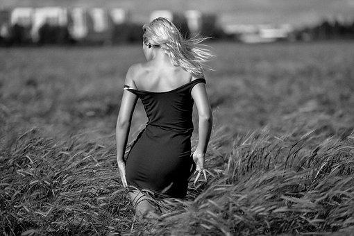 Girl In A Field, Passion, Blonde, Sky, Shoulders, Dress