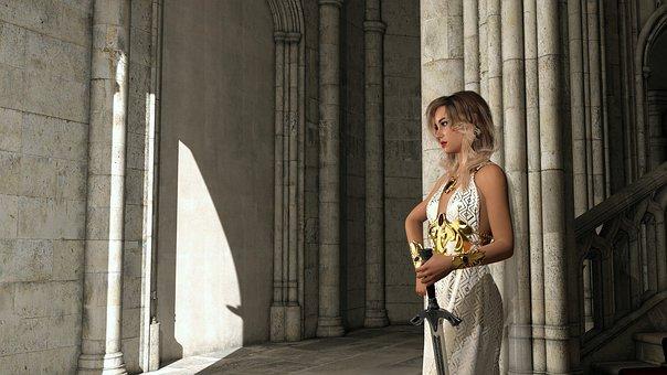 Sword, Fantasy, Female, Fairytale, Warrior, Posing