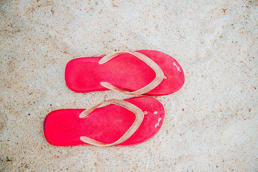 Red, Flip Flop, Shoes, Barefoot, Summer, Warm, Open