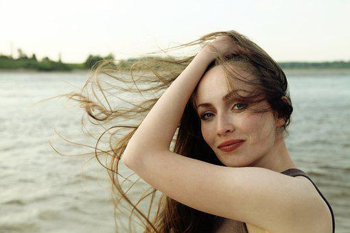 Attractive, Beautiful, Natural, Woman, Long, Flowing