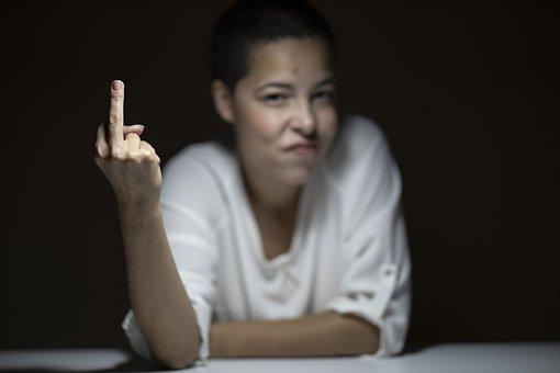 Insult, Middle Finger, Profanity, Girl, Woman, Model