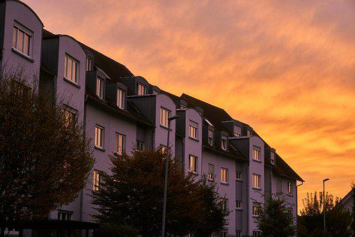 Sunset, Afterglow, Mood, Facade, Home Front