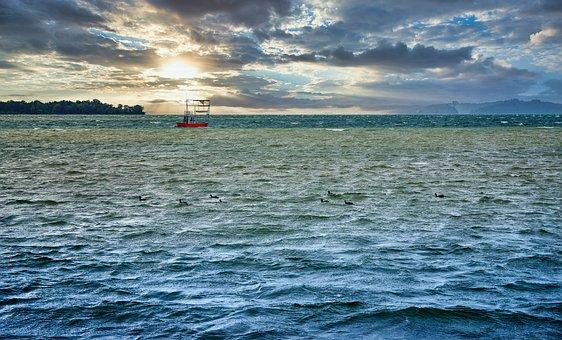 Water, Sea, Lake, Wave, Sky, Boat, Sun, Sunrise, Nature