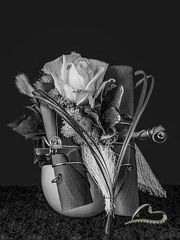 Mourning, Trauerkarte, Still Life, Rose Arrangement