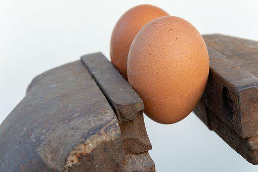 Egg, Press, Metal, Vise, White, Pressure, Isolated