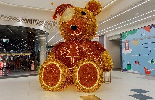 Bear, Big, Decor, Artistic, Art, Ornaments, Lights
