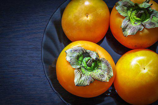 Persimmon, Four Pieces, Food, Fruit, Useful, In A Plate