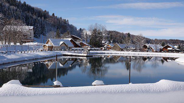 Lake, Mountain, House, Snow, Trees, Winter, Reflection