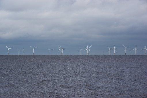 Windräder, Wind Park, Sea, Ocean, Water, Wave, Sky