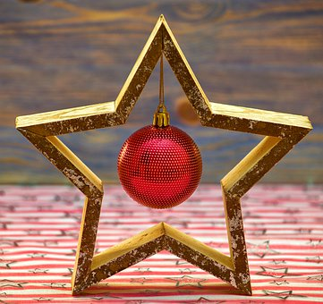 Christmas, Star, Background, Red, Gold, Wood, Pattern