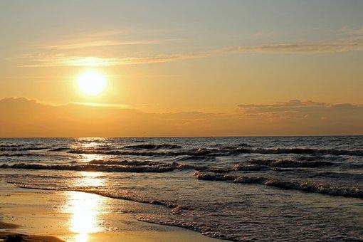 Sea, Sunset, Beach, The Waves
