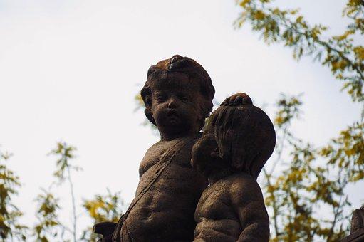 Statues, Angels, Cupid, Trees, Statue, Figure