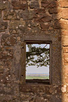 Wall, Window, View, Outlook, Distant, Windräder