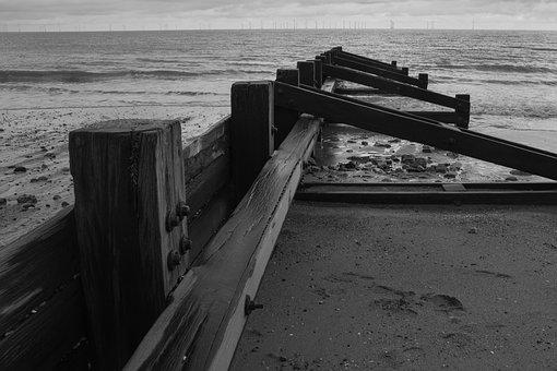 Sea, Breakwater, Water, Wind, Wood, Tides, Beach, Sand