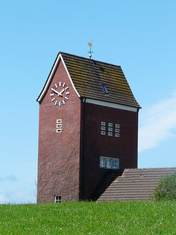 Steeple, Baltrum, Church, Time Of, North Sea, Island