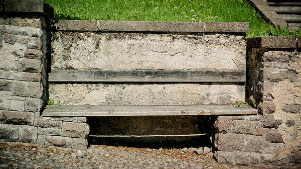 Bank, Wall, Wooden Bench, Bricked, Bench, Break, Sit