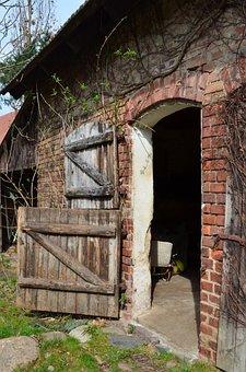 Stall, Barn Door, Village, Village Life, Old, Open