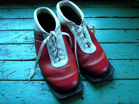 Ski Boots, Skiing, Boots, Red, Blue, Footwear, White