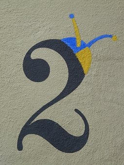 Number, Two, Paint, Painting, House Number, Decoration