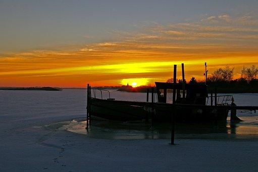 Sunset, Winter Evening, Winter, Ice, Frozen, Frost