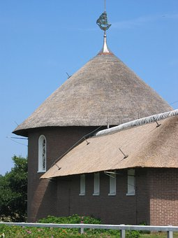 Church, Thatched Roof, North Sea, Holiday, Ship Church