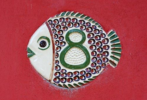 House Number, Eight, Fish, Mosaic, 8, Number, Digit