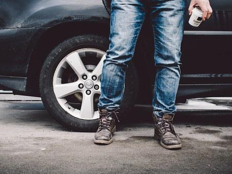 Man, Car, Coffee, Boots, Jeans, Walking, Morning