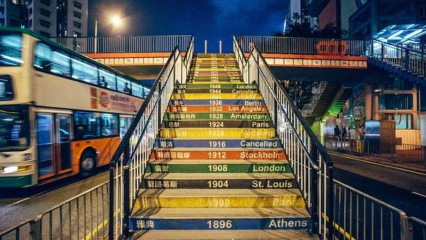 Olympic Games, Ladder, Year, Night, Hong Kong, Tourism