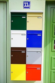 Letter Boxes, Colorful, Color, Post, House Number
