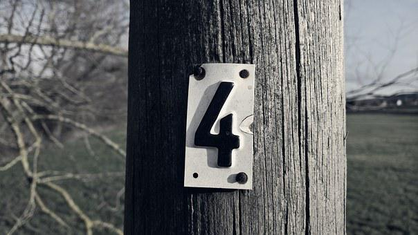 Shield, Four, Telephone Poles, Number, At, Retro