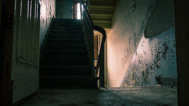 Lost Place, Staircase, Old, Broken, Villa, Blue, Scary