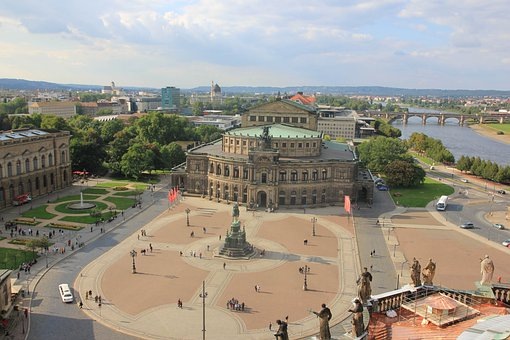 Dresden, Semper Opera House, Space, Statue, Tourism