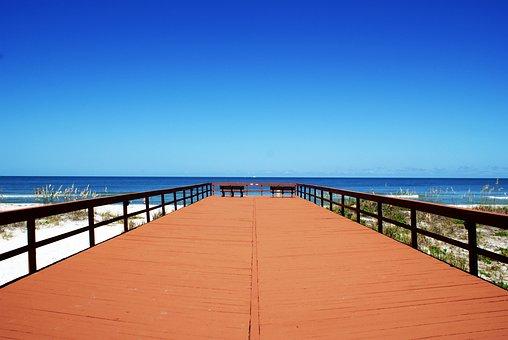Pier, Beach, Sky, Sand, Water, Mexican, Gulf, Summer