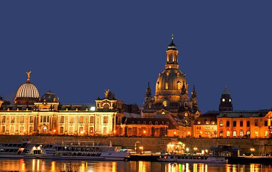 Dresden, Elbe, Frauenkirche, Sunset, Historic Old Town