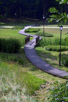 The Path, Way, Park, Wetlands, Syców, Poland, Bridge