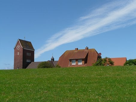 Baltrum, North Sea, Island, Church, Steeple, Village
