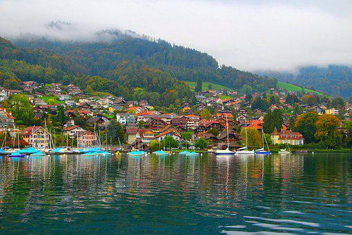 Village, Lake Thun, Switzerland, Blue Lake, Calm, Cool