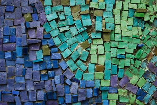 Mosaic, Blue, Green, Background, Wall, Decorative