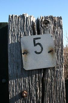 Five, 5, Number, House Number, Sign, Wood, Worn, Faded