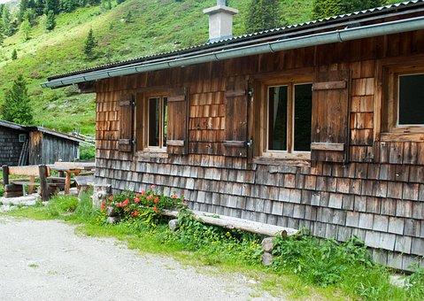 Hut, Summer, Hiking, Wood, Flowers, Wooden Bench