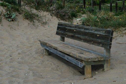 Beach, Wood, Corner, Wooden Bench, Breathing, Patience