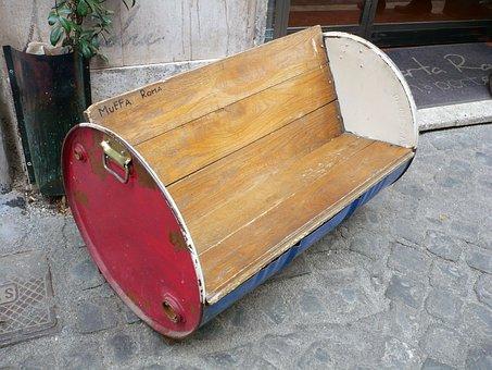 Bench, Seating, Barrel, Wooden, Furniture