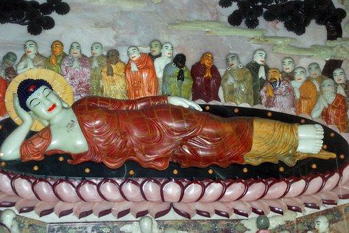 China, Xian, Buddha, Reclining Buddha, Jade, Multicolor