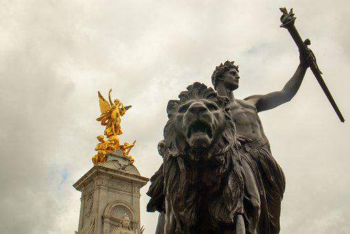 London, Buckingham Palace, Europe, Statue, Art, Lion