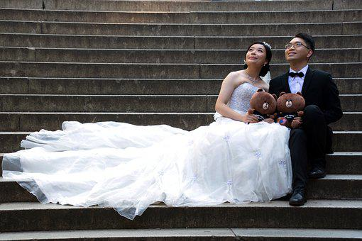 Wedding, Couple, Bridal, Marriage, Gown, Relationship