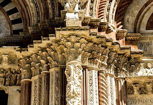 Siena, Dom, Western Front, Portal, Italy, Tuscany