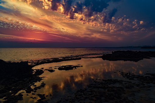 Sunset, Clouds, Sea, Water, Lagoon, Landscape, Nature