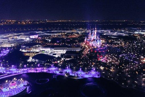 Night, Disney, Disneyland, Lights, Castle, Fun