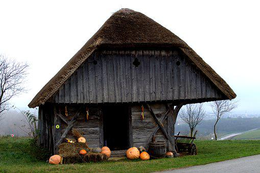 Old House, Thatched Roof, Pumpkin, History, Slovenia